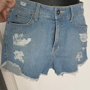 NWOT Carmar lght blue distressed denim jean shorts